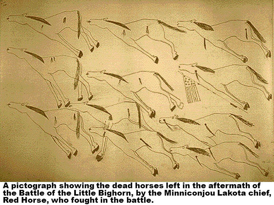 A pictograph showing the dead horses left in the aftermath of the Battle of the Little Bighorn, by the Minniconjou Lakota chief, Red Horse, who fought in the battle.