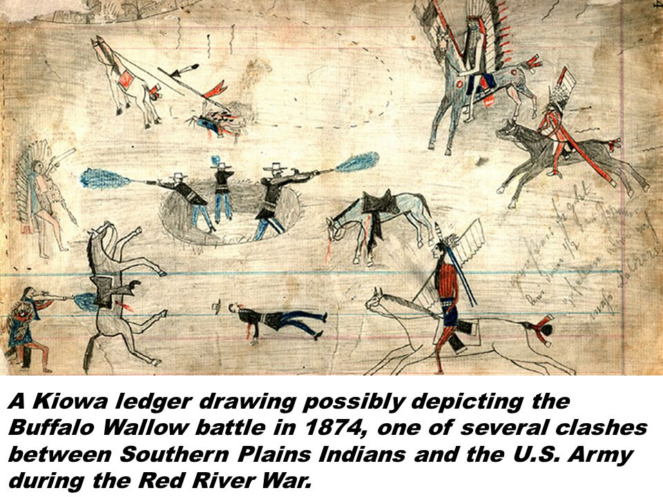 A Kiowa ledger drawing possibly depicting the Buffalo Wallow battle in 1874, one of several clashes between Southern Plains Indians and the U.S.