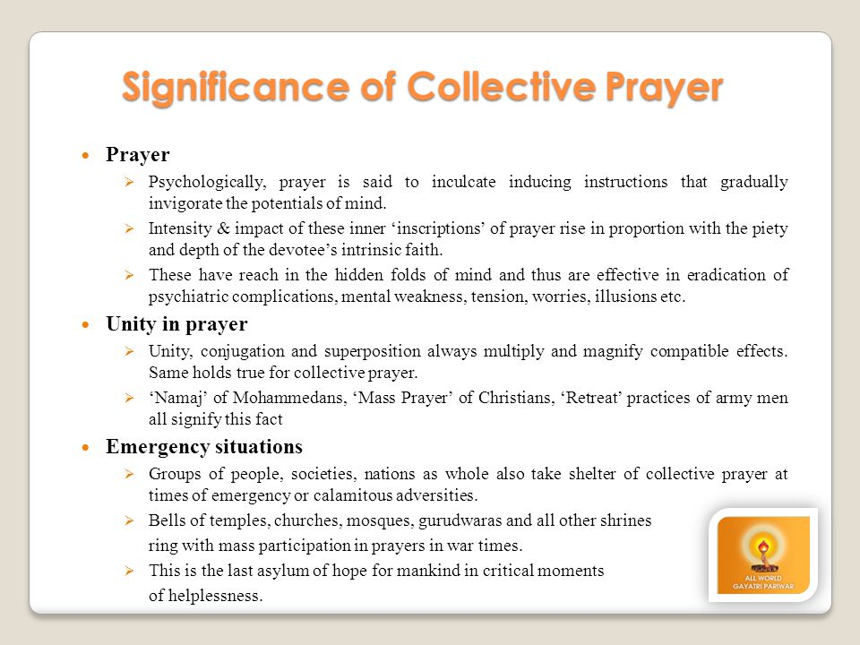 Significance of Collective Prayer