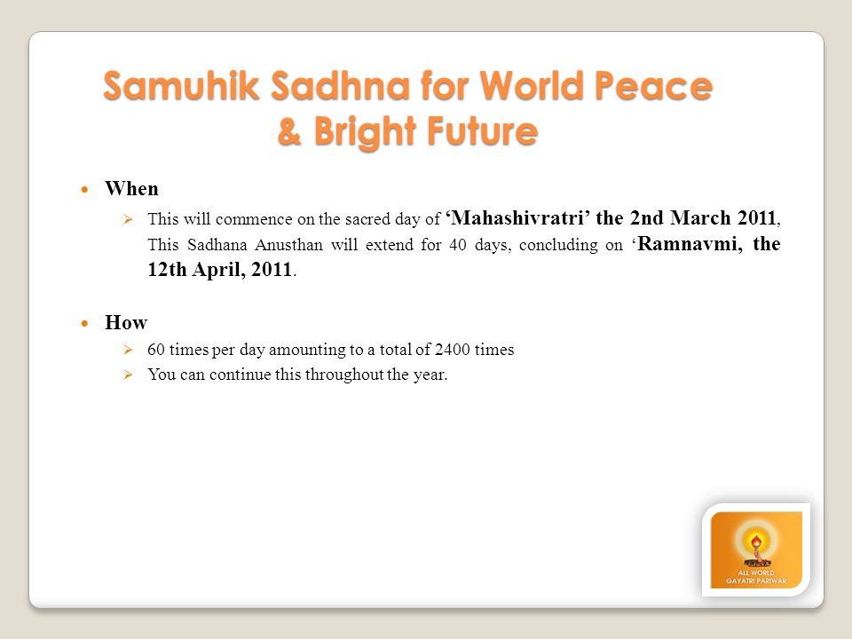 Samuhik Sadhna for World Peace