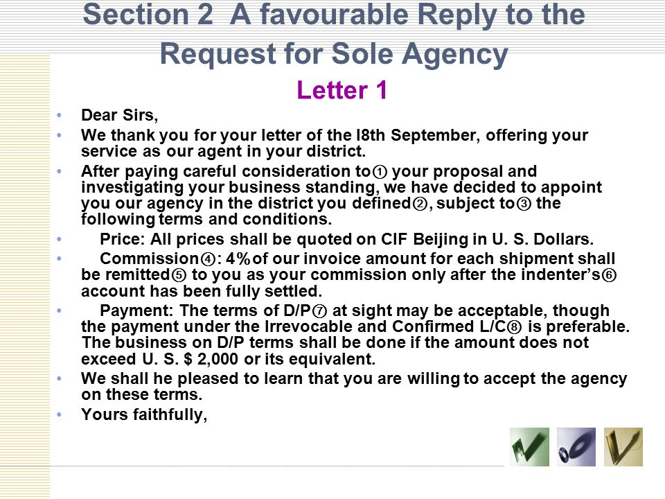 Section 2 A favourable Reply to the Request for Sole Agency