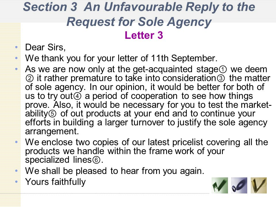 Section 3 An Unfavourable Reply to the Request for Sole Agency