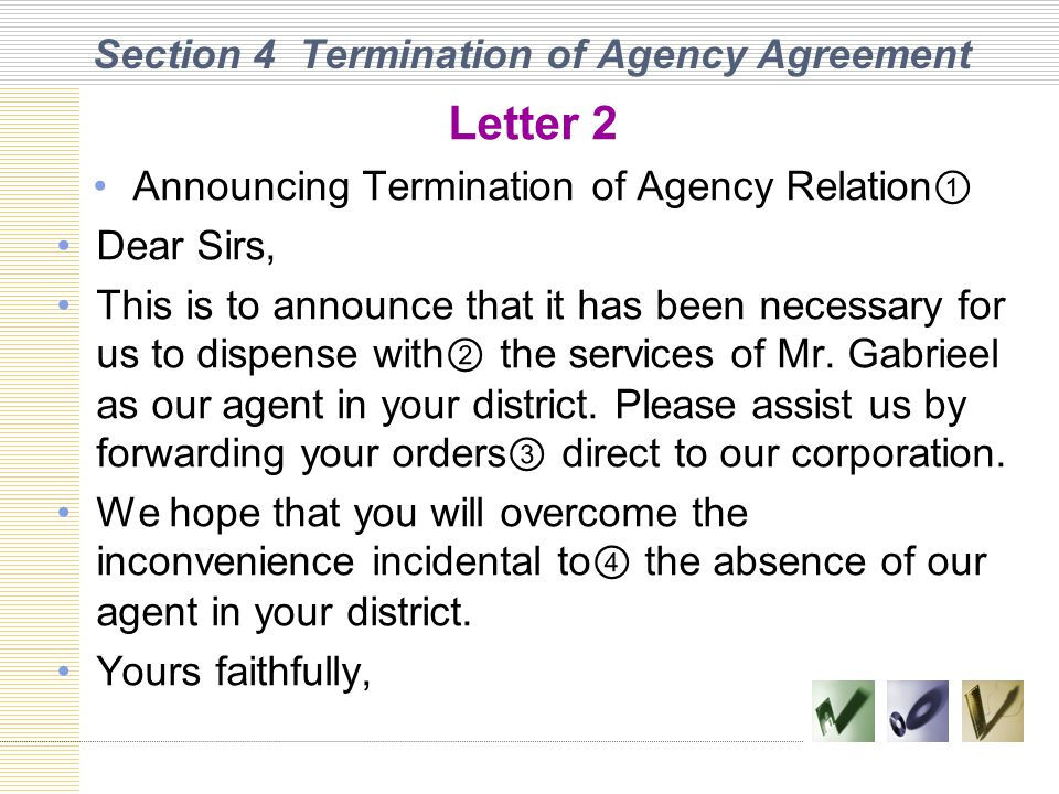 Section 4 Termination of Agency Agreement