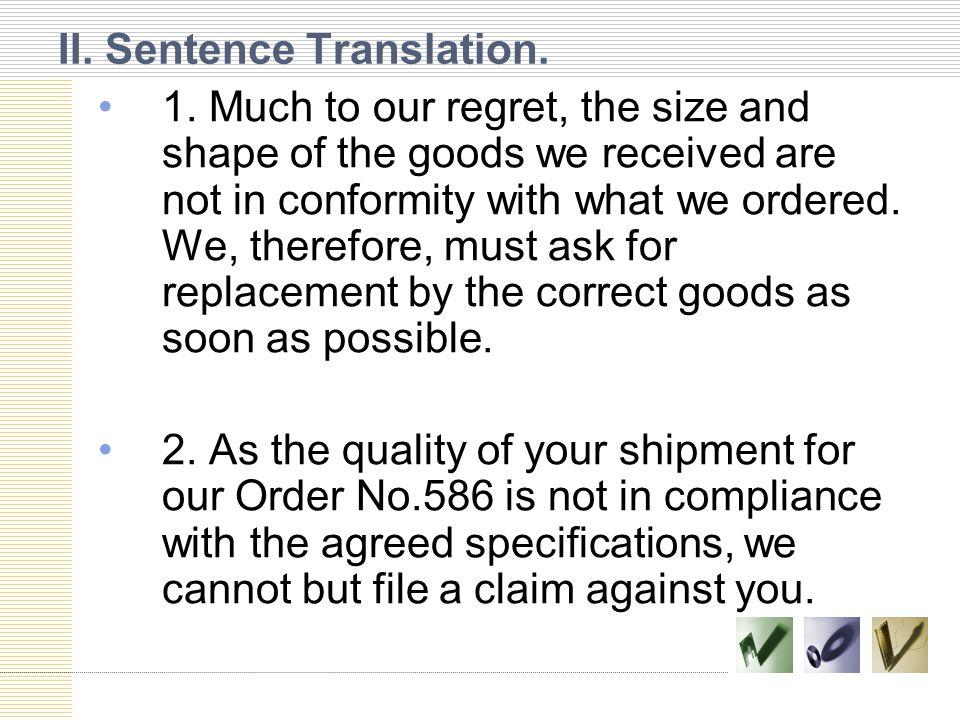 II. Sentence Translation.