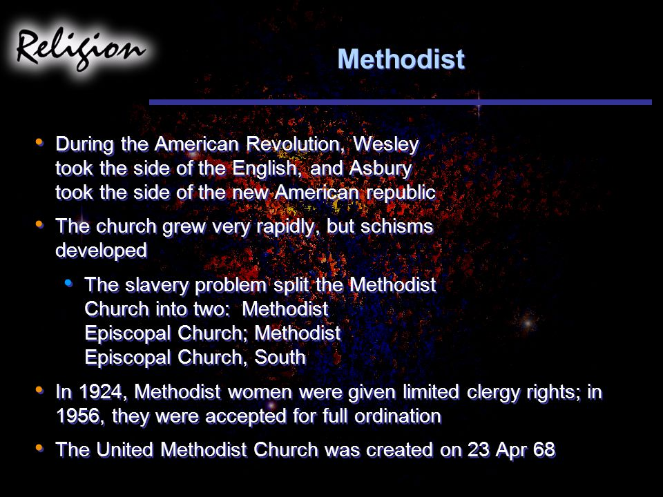Methodist During the American Revolution, Wesley took the side of the English, and Asbury took the side of the new American republic.