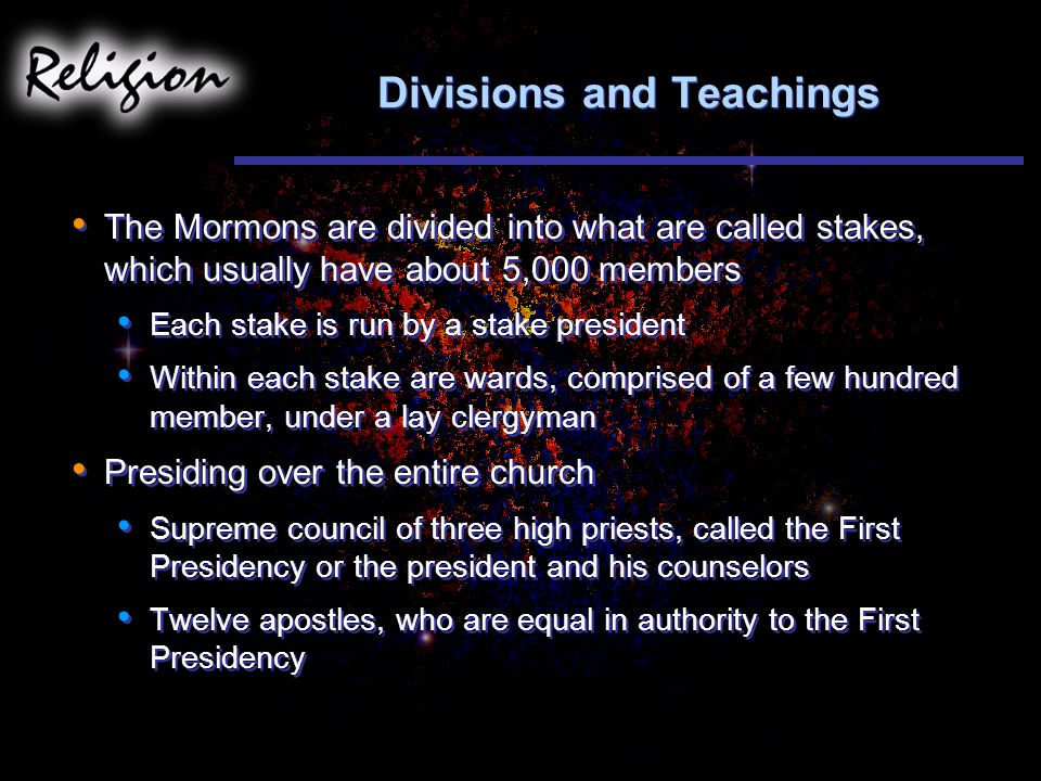 Divisions and Teachings