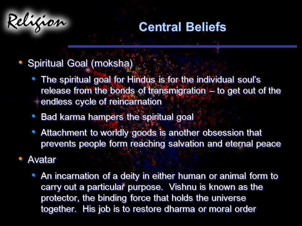 Central Beliefs Spiritual Goal (moksha) Avatar