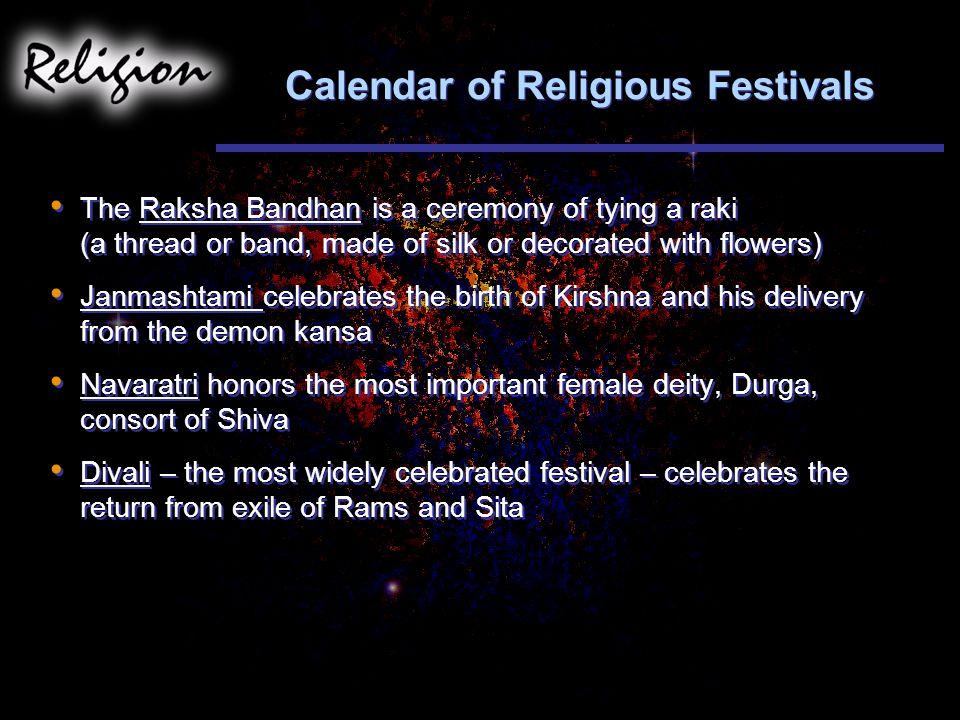 Calendar of Religious Festivals