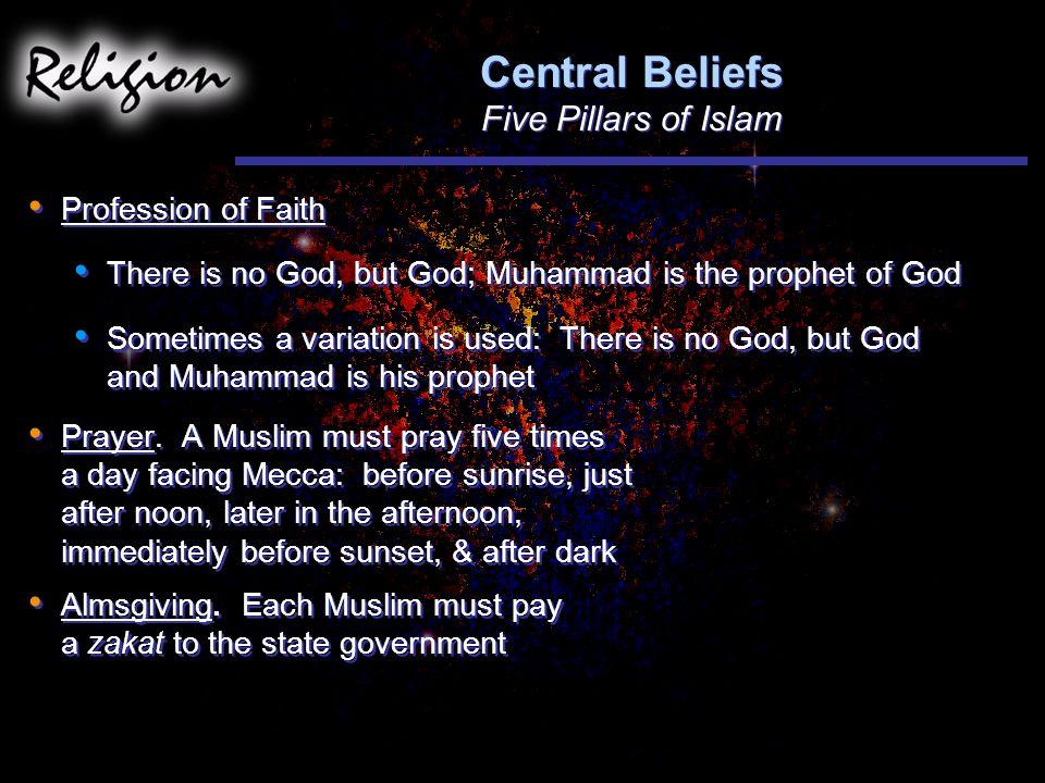 Central Beliefs Five Pillars of Islam