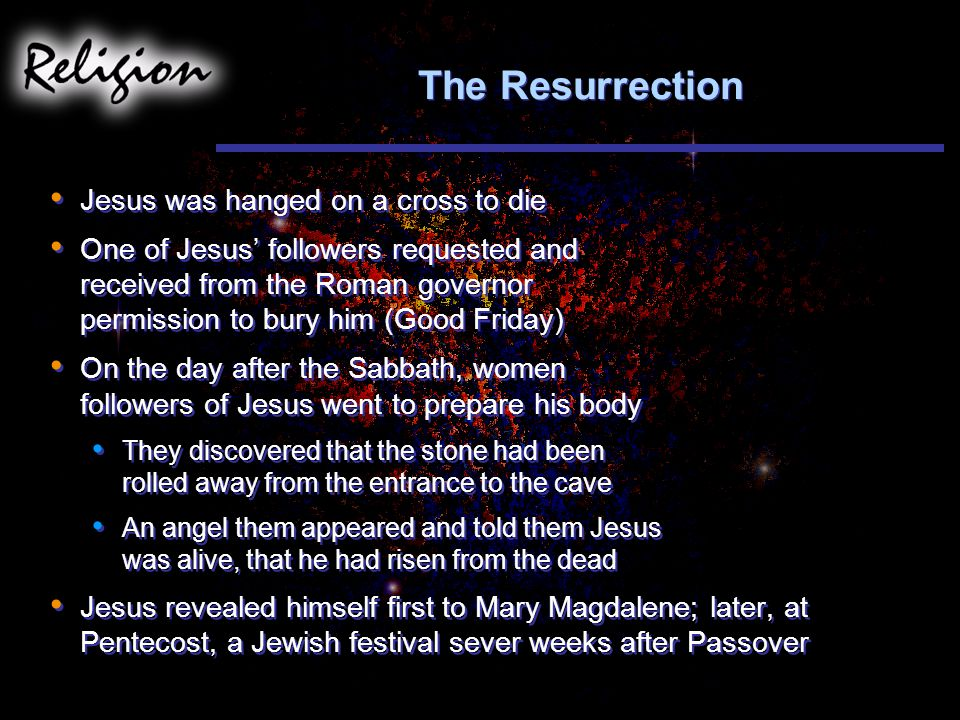 The Resurrection Jesus was hanged on a cross to die