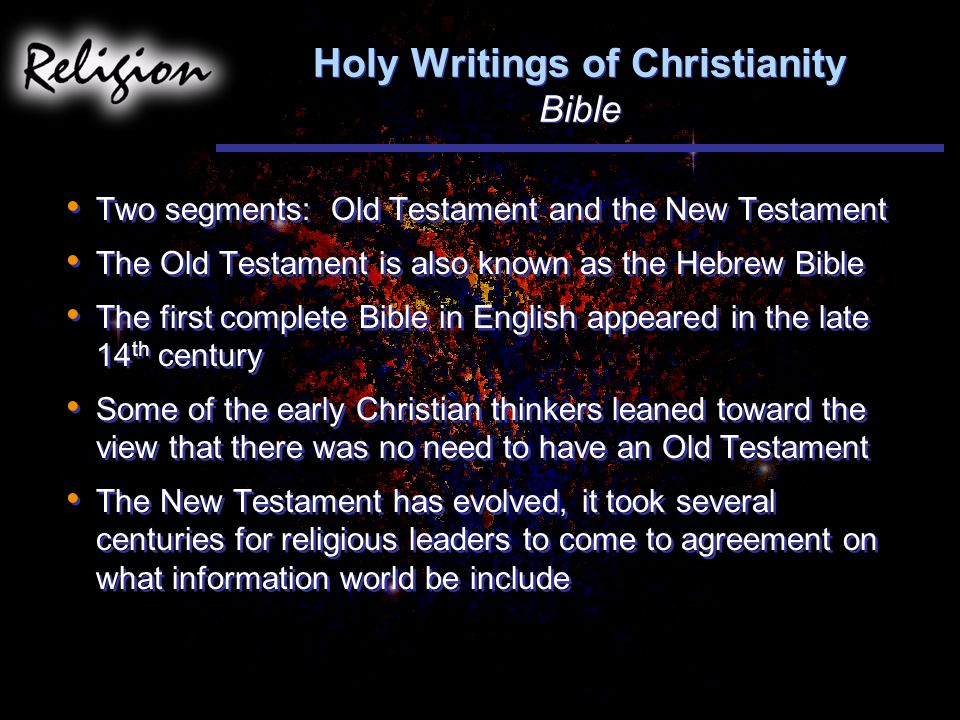 Holy Writings of Christianity Bible
