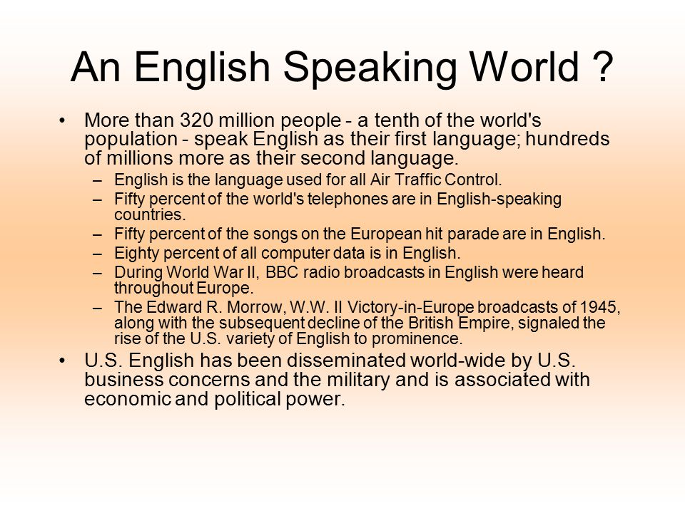An English Speaking World
