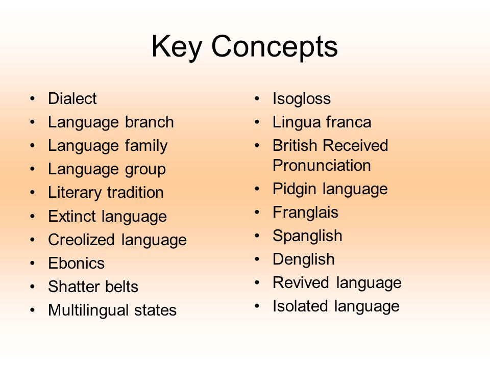 Key Concepts Dialect Language branch Language family Language group