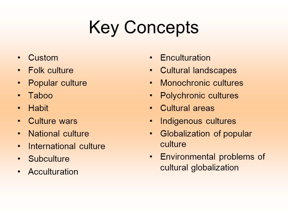 Key Concepts Custom Folk culture Popular culture Taboo Habit