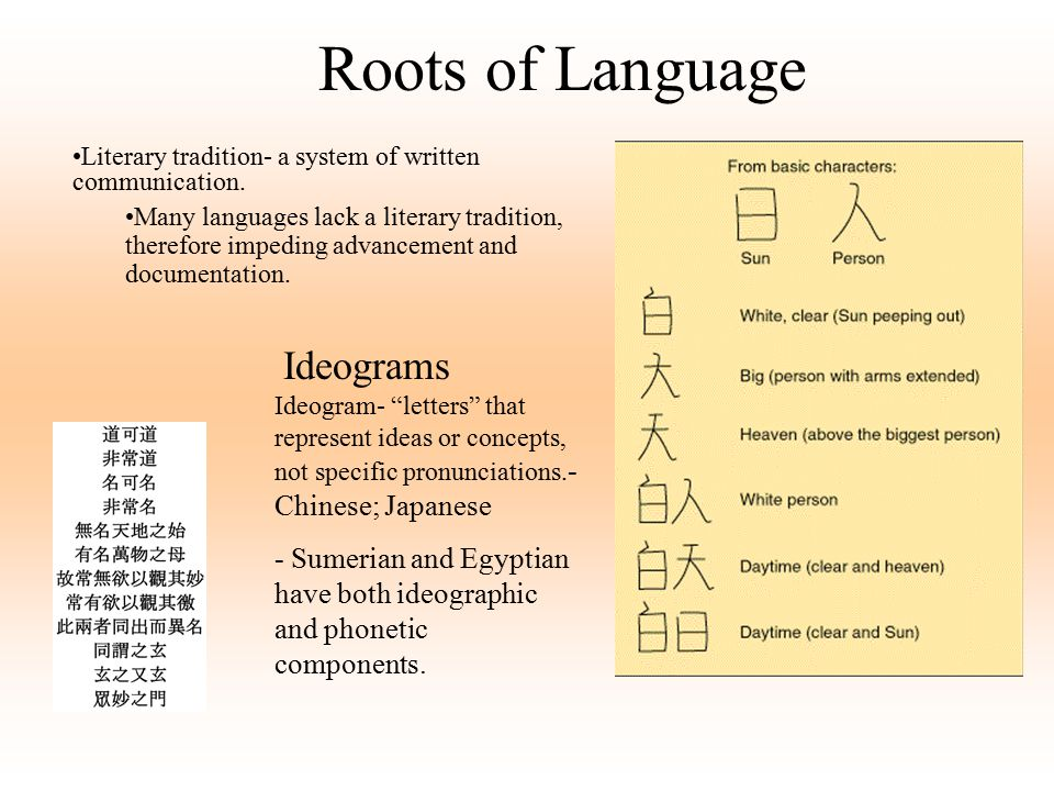Roots of Language Literary tradition- a system of written communication.