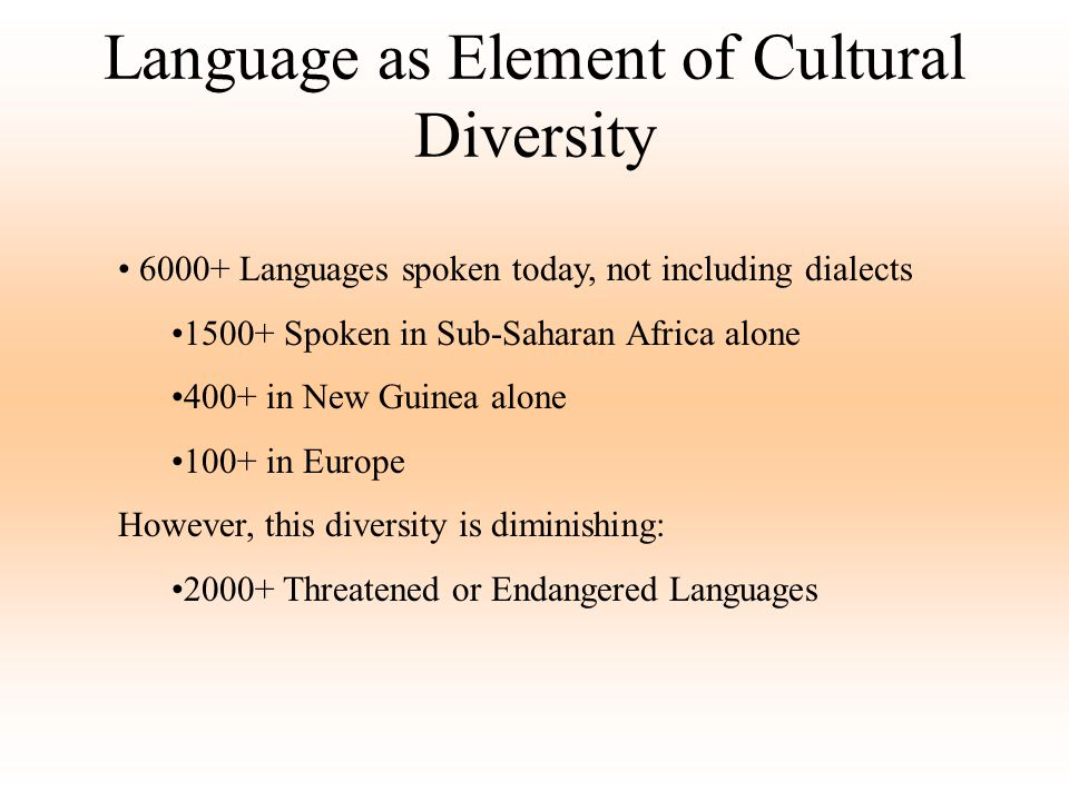 Language as Element of Cultural Diversity
