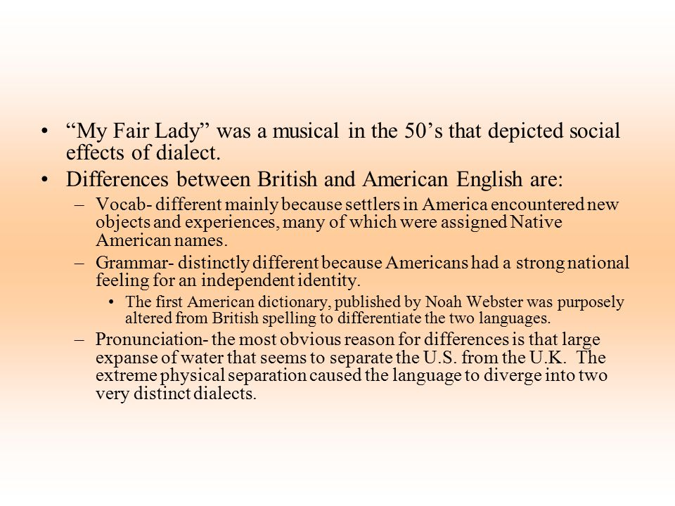Differences between British and American English are: