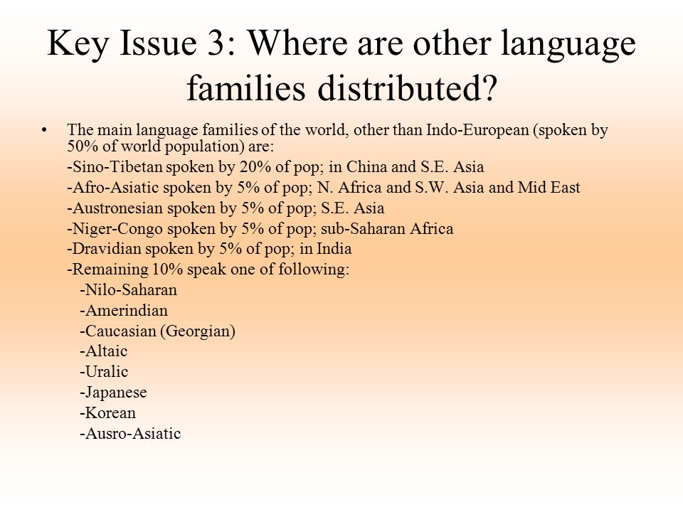Key Issue 3: Where are other language families distributed