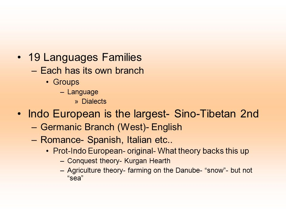 Indo European is the largest- Sino-Tibetan 2nd