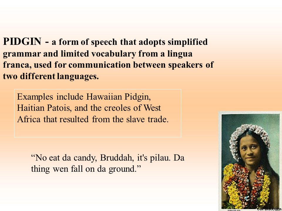 PIDGIN - a form of speech that adopts simplified grammar and limited vocabulary from a lingua franca, used for communication between speakers of two different languages.