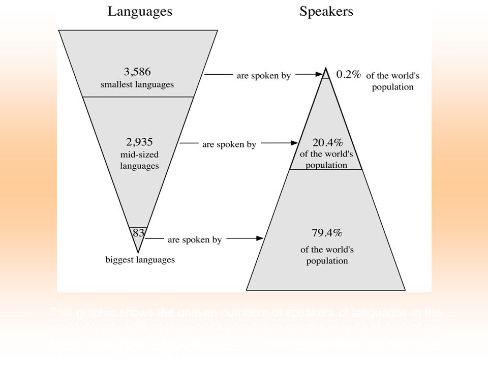 This graphic shows the uneven numbers of speakers of languages in the world.