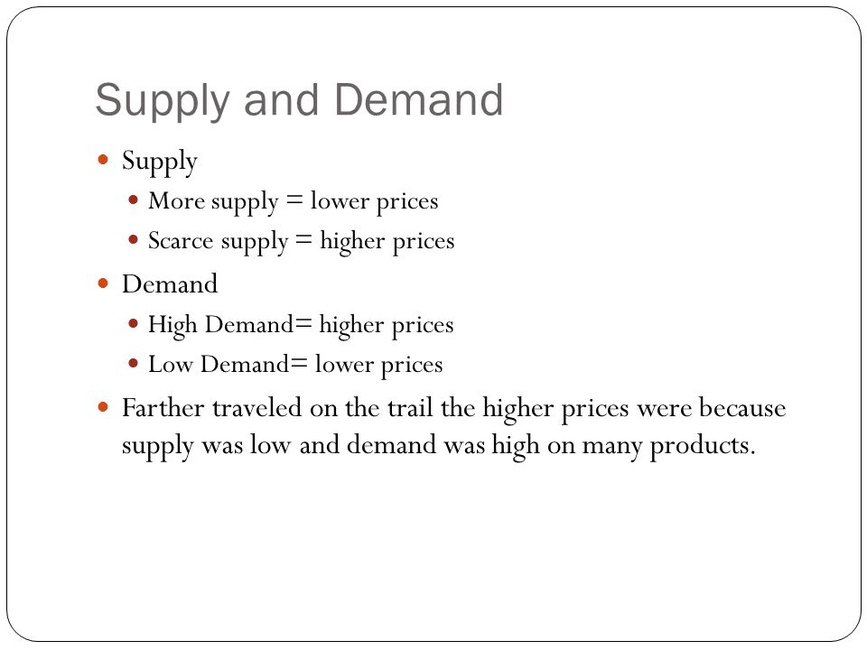 Supply and Demand Supply Demand