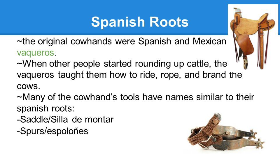 Spanish Roots ~the original cowhands were Spanish and Mexican vaqueros.