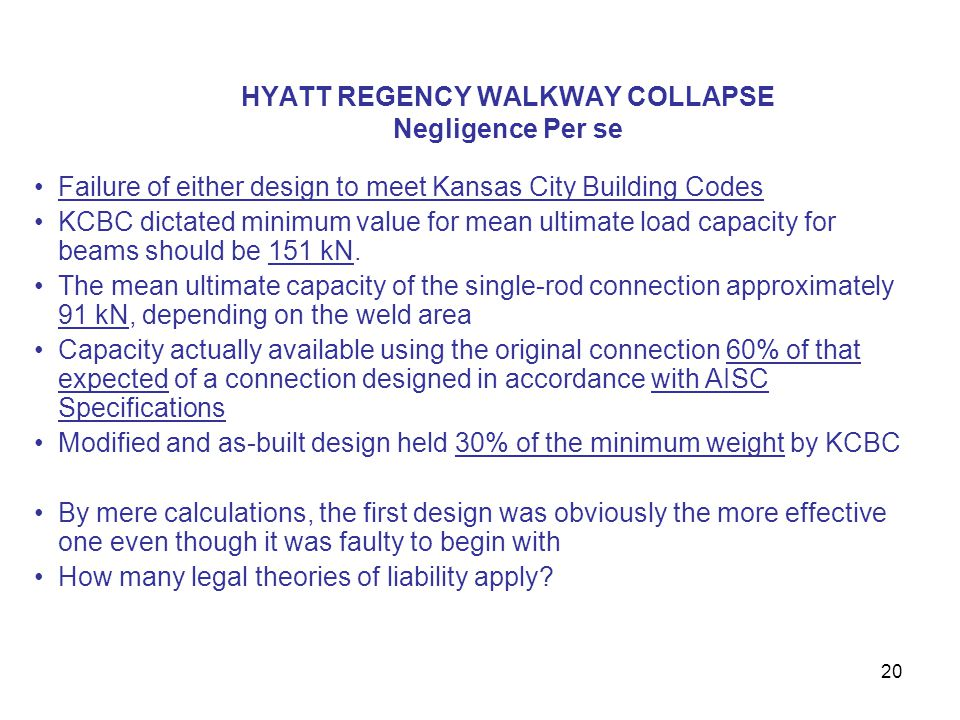 HYATT REGENCY WALKWAY COLLAPSE Negligence Per se