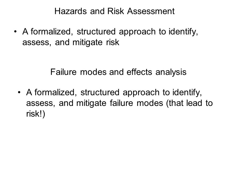 Hazards and Risk Assessment