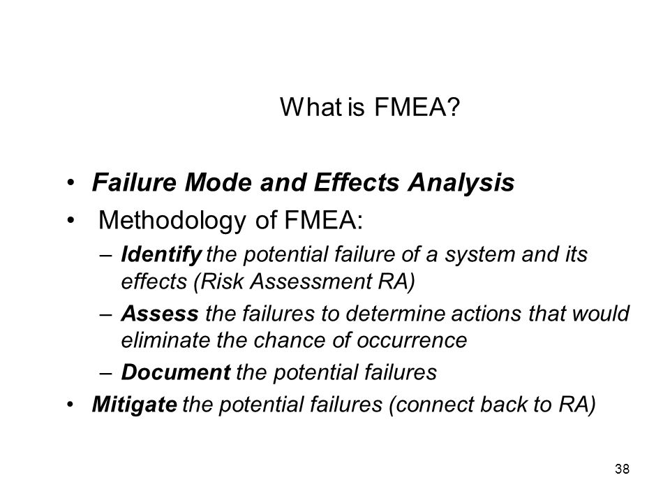 Failure Mode and Effects Analysis Methodology of FMEA:
