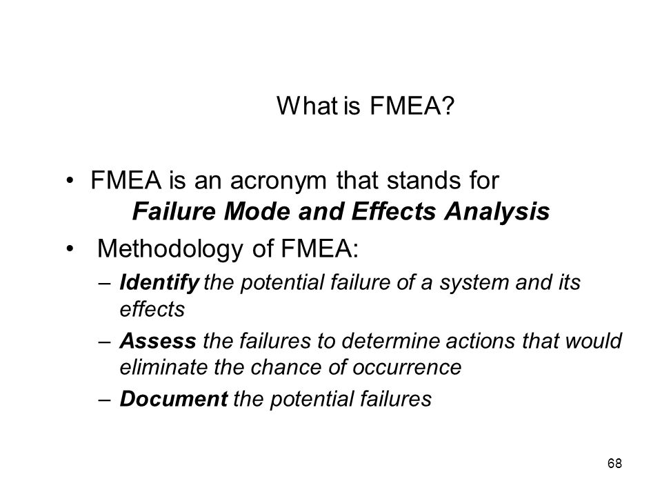 FMEA is an acronym that stands for Failure Mode and Effects Analysis