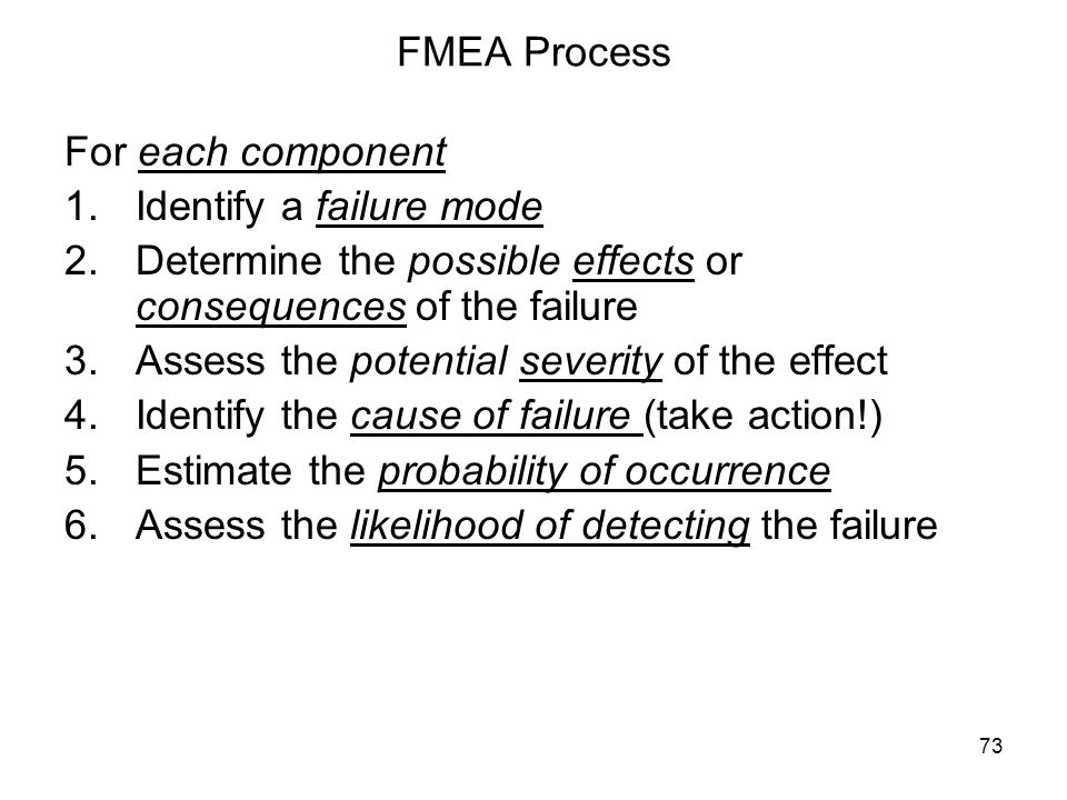 FMEA Process For each component. Identify a failure mode. Determine the possible effects or consequences of the failure.