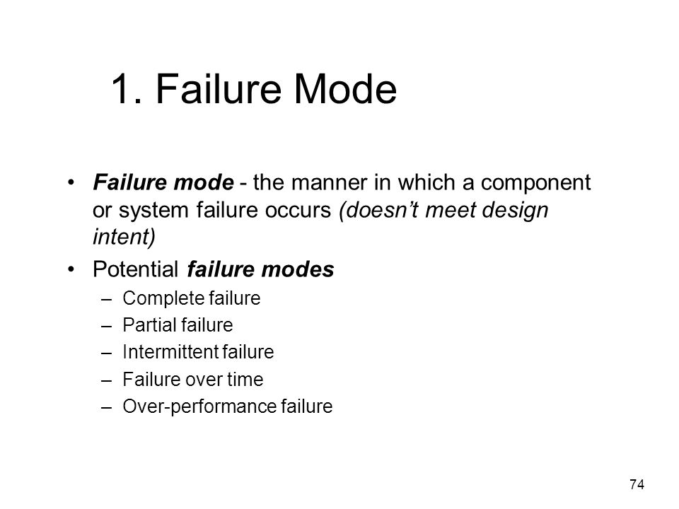 1. Failure Mode Failure mode - the manner in which a component or system failure occurs (doesn't meet design intent)