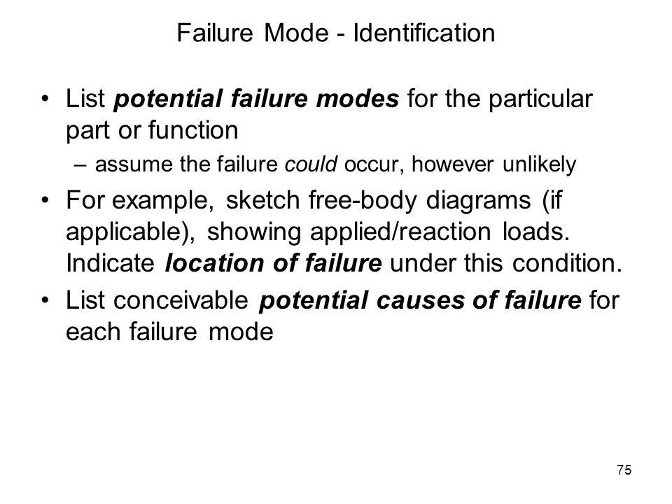 Failure Mode - Identification