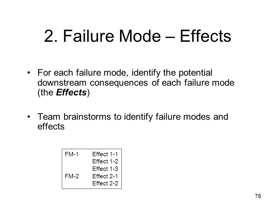 2. Failure Mode – Effects For each failure mode, identify the potential downstream consequences of each failure mode (the Effects)