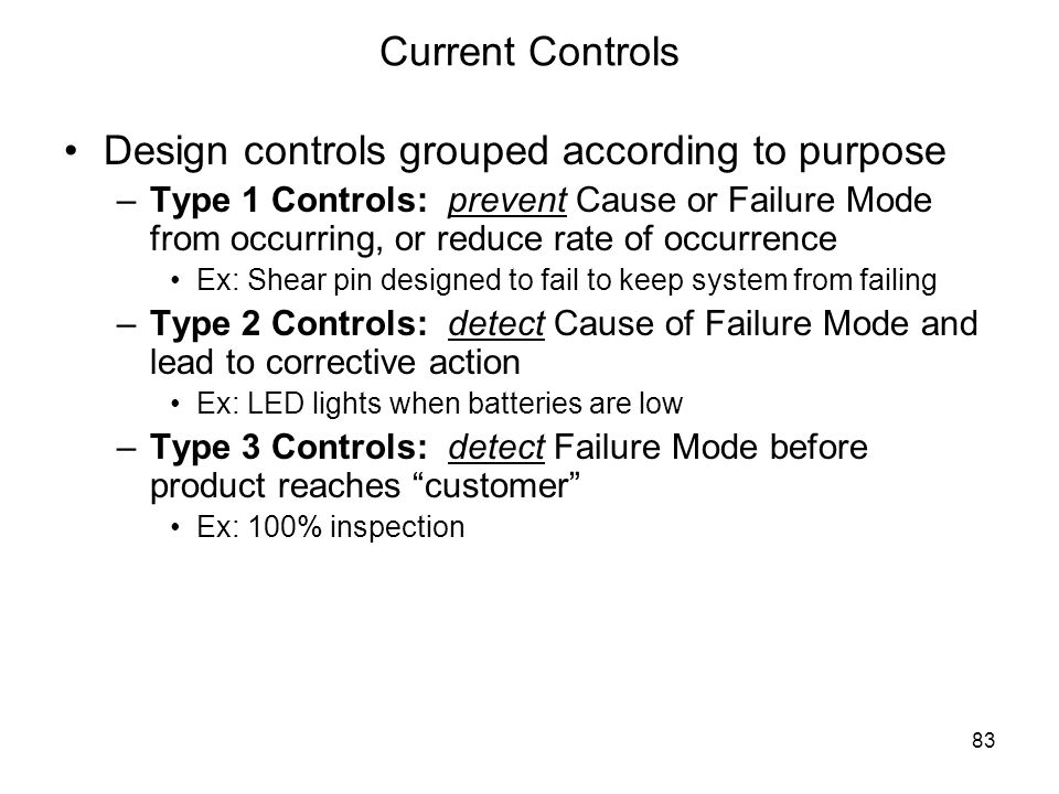 Design controls grouped according to purpose