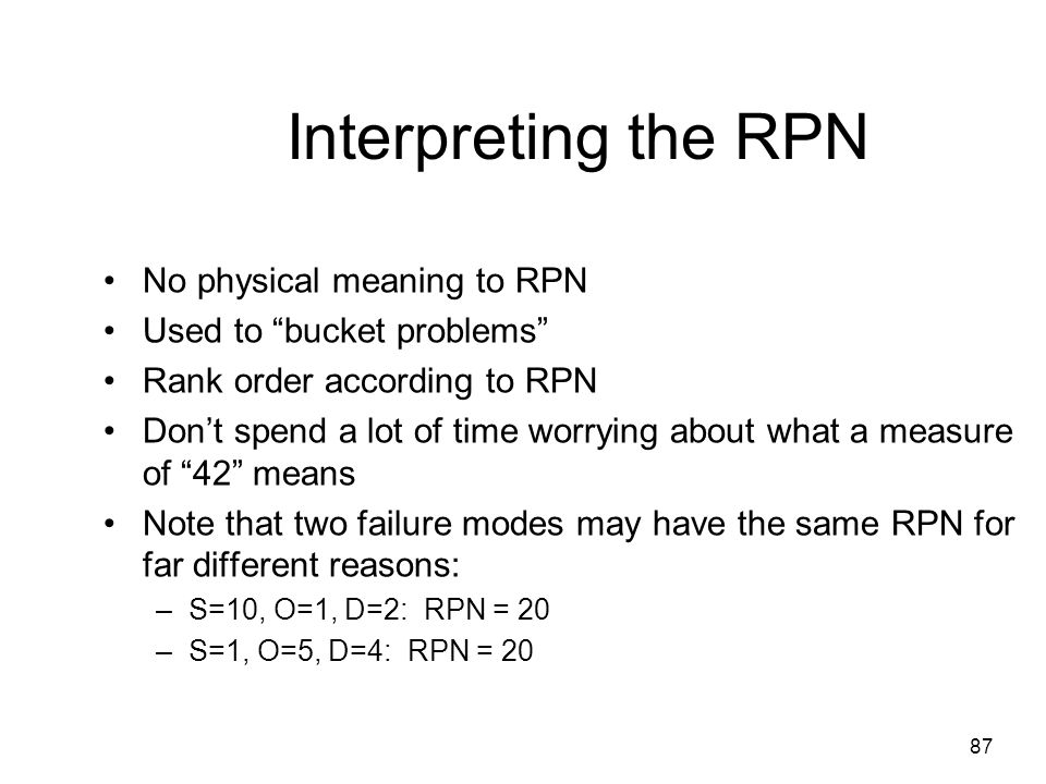 Interpreting the RPN No physical meaning to RPN