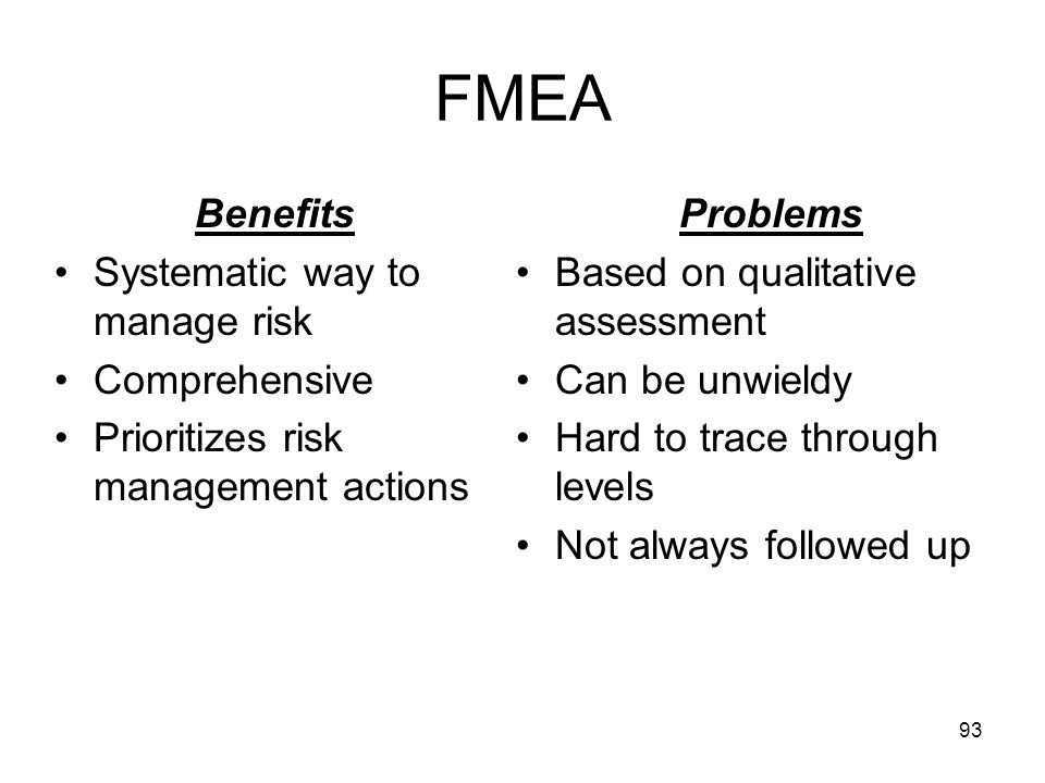 FMEA Benefits Systematic way to manage risk Comprehensive