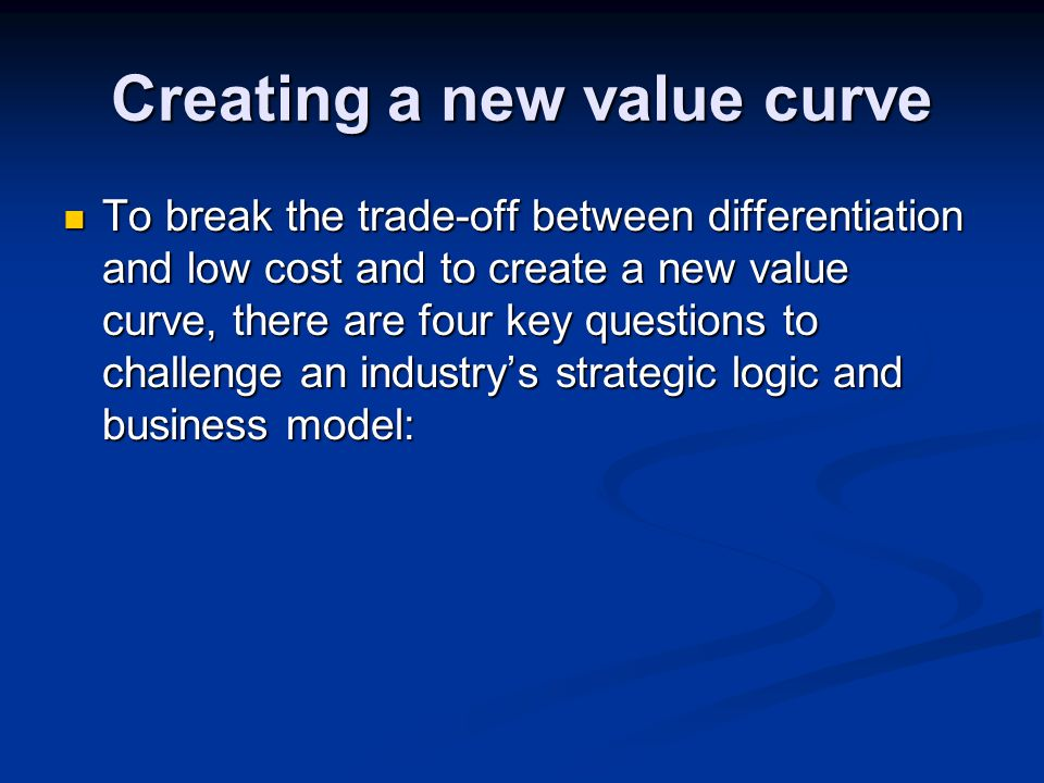 Creating a new value curve