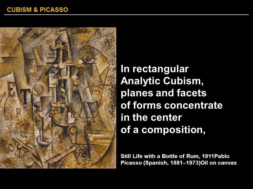 In rectangular Analytic Cubism, planes and facets of forms concentrate