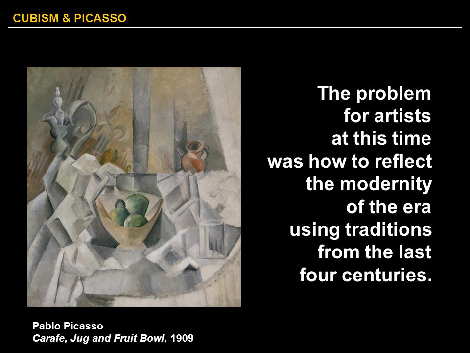 The problem for artists at this time was how to reflect the modernity