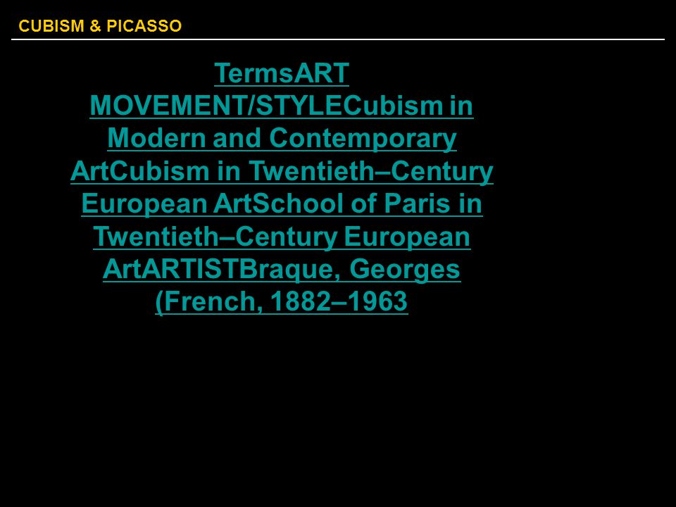 TermsART MOVEMENT/STYLECubism in Modern and Contemporary ArtCubism in Twentieth–Century European ArtSchool of Paris in Twentieth–Century European ArtARTISTBraque, Georges (French, 1882–1963