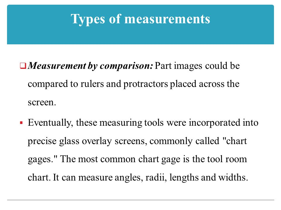 Types of measurements Measurement by comparison: Part images could be compared to rulers and protractors placed across the screen.
