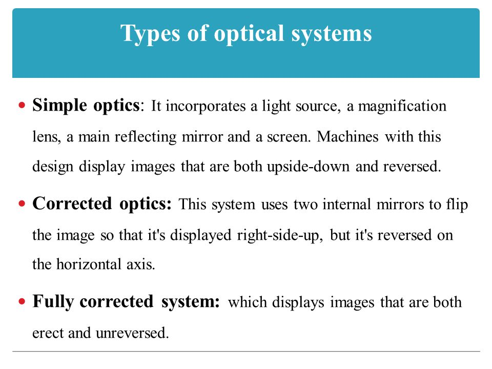 Types of optical systems