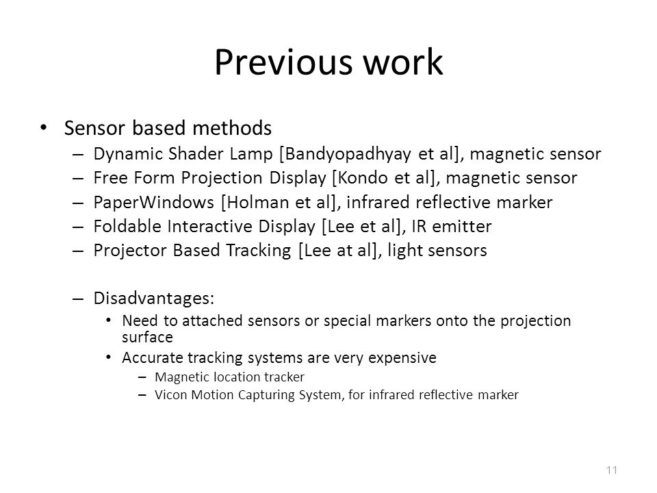Previous work Sensor based methods