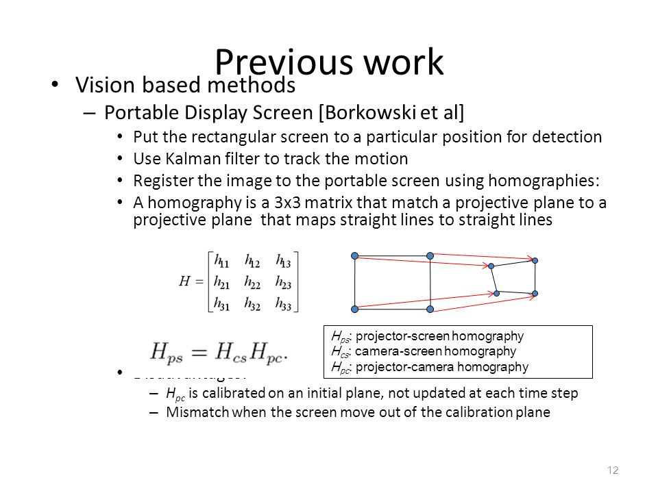 Previous work Vision based methods