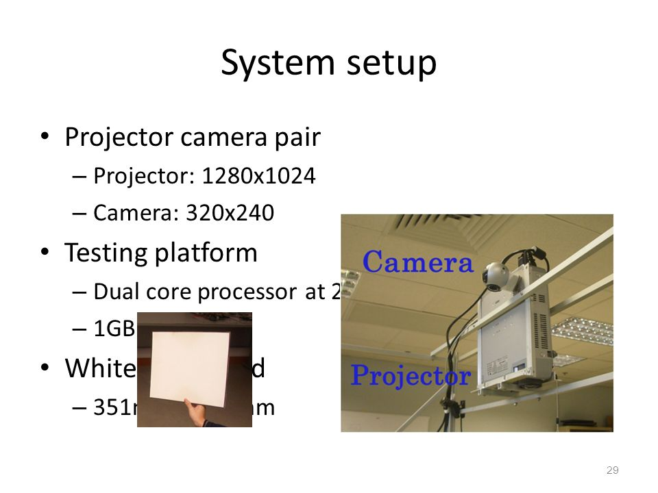 System setup Projector camera pair Testing platform White cardboard