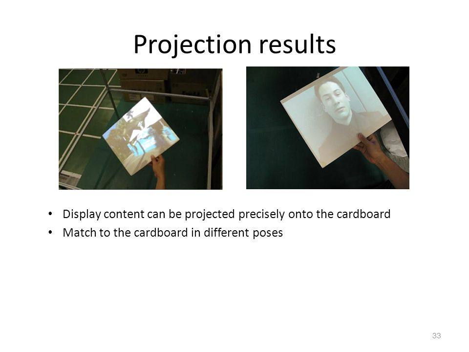 Projection results Display content can be projected precisely onto the cardboard.