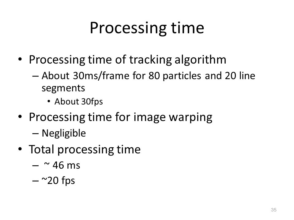 Processing time Processing time of tracking algorithm