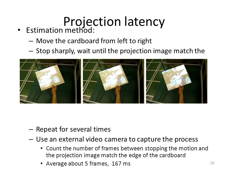 Projection latency Estimation method: